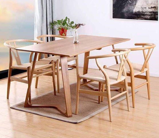 Bộ bàn ghế ăn 4 ghế Wishbone