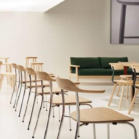 Bàn ghế cafe bằng gỗ kết hợp khung inox